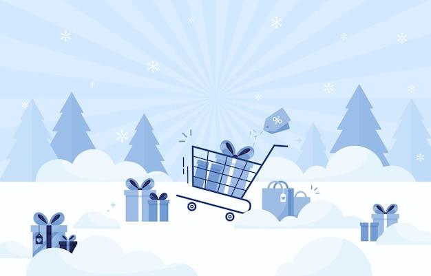 Mazzo di regali per natale, capodanno e vacanze nel carrello su sfondo invernale per affari, vendita e commercio online. blu