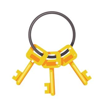 Mazzo di chiavi d'oro su uno sfondo bianco. illustrazione.