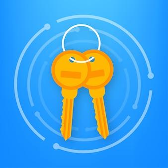 Mazzo di chiavi icona su sfondo bianco. illustrazione vettoriale.