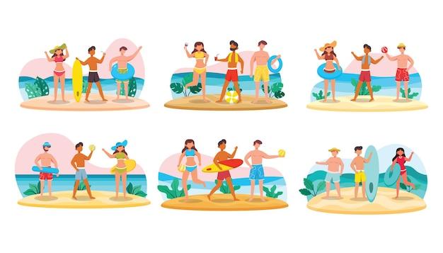 Un fascio di 18 personaggi maschili in costume da bagno e pose con asset sulla spiaggia. illustrazione scena piatta.