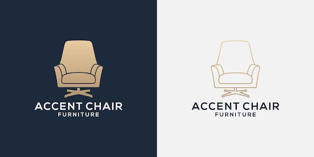 Bundle accent sedie logo design line e flat per la tua proprietà aziendale, interni, mobili