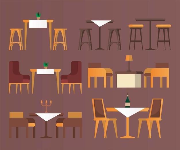 Pacchetto di icone di set di mobili da bar e ristorante