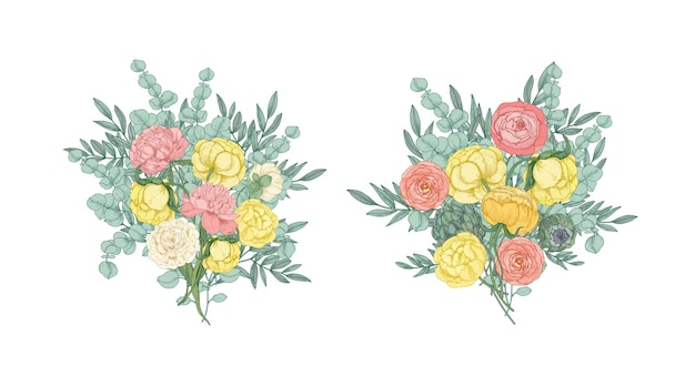 Bundle di bellissimi mazzi o mazzi di fiori che sbocciano giardino giallo e rosa e piante fiorite isolate su bianco