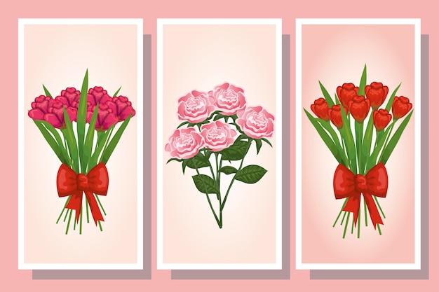 Bundle di bouquet di fiori e decorazioni