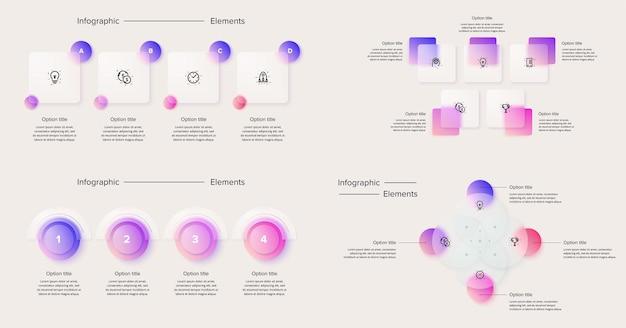 Modello di diapositive di presentazione di infographics di affari e finanza del pacchetto diversi diagrammi di grafici w