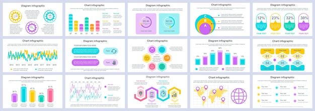 Bundle modello di diapositive di presentazione infografica affari e finanza