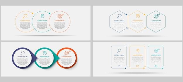 Bundle business infographics impostato con 3 opzioni o passaggi