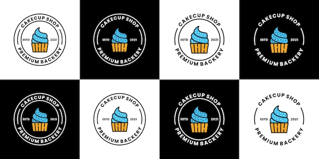 Bundle cake cup logo design vintage distintivo vettoriale