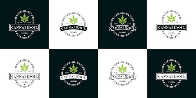 Bundle cannabis, estratto di olio di cannabis logo design stile retrò