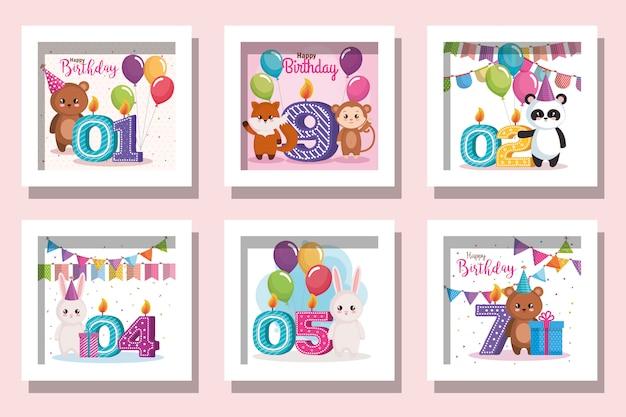 Pacchetto di carte buon compleanno con simpatici animali e decorazioni