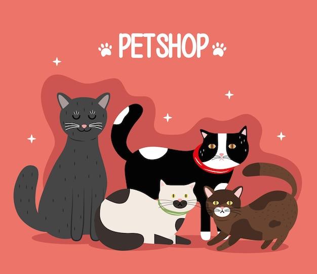 Fascio di gatti di diversi colori, mascotte e scritte