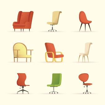 Fascio di sedie mobili casa imposta icone illustrazione design