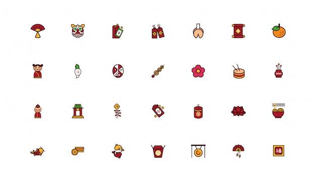Bundle di chinesse set di icone del nuovo anno