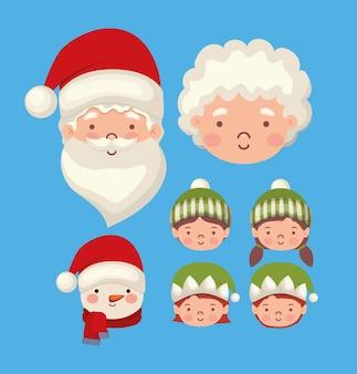 Pacchetto di personaggi natalizi su sfondo blu.