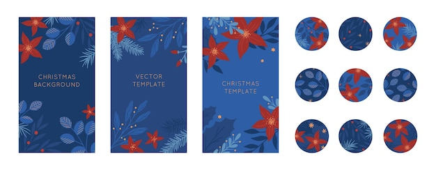 Pacchetto di modelli di storie insta di natale e felice anno nuovo e copertine in evidenza in stile natalizio. layout vettoriali con piante e fiori. sfondi di natale. design alla moda per il social media marketing.
