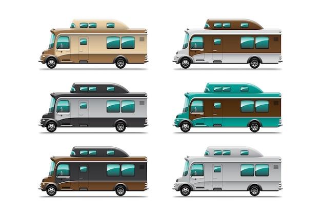 Collezione bundle di rimorchi da campeggio, case mobili da viaggio o roulotte su sfondo bianco