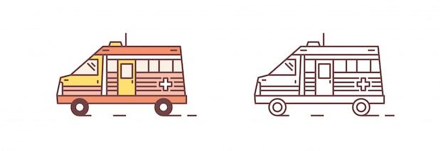 Pacco di autoveicoli colorati e monocromatici ambulanza isolati su sfondo bianco. servizio di emergenza o paramedico, pronto soccorso, assistenza medica. illustrazione moderna in stile art linea.