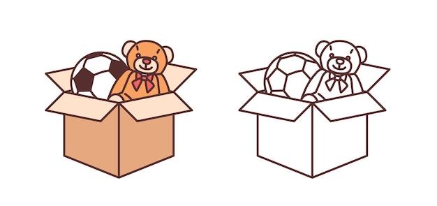 Fascio di disegni colorati e monocromatici di orsacchiotto e pallone da calcio in scatola di cartone. giocattoli per l'intrattenimento dei bambini isolati su sfondo bianco. illustrazione vettoriale moderna in stile art line.