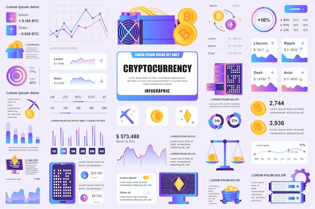 Raggruppa elementi ui, ux, kit infografici di mining di criptovaluta