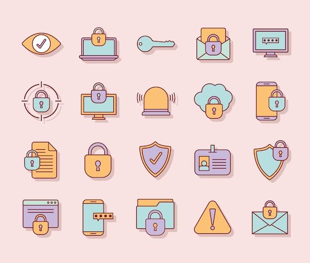 Pacchetto di icone di sicurezza informatica su uno sfondo rosa