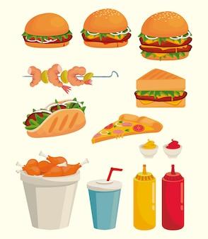 Fascio di deliziose icone di fast food illustrazione