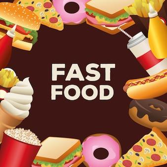 Pacchetto di deliziosi menu fast food cornice intorno