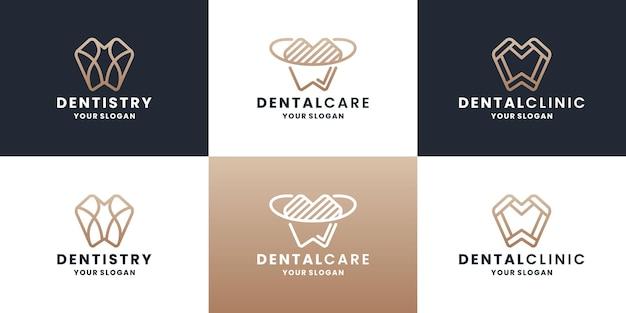 Bundle cure odontoiatriche, odontoiatria, design del logo dentista con colore dorato