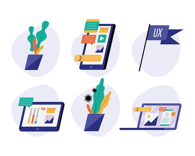 Pacchetto di dispositivi con illustrazione della tecnologia dei social media