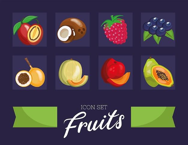 Un fascio di otto frutti freschi imposta icone e scritte illustrazione design