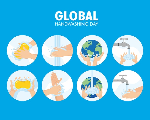 Un pacchetto di otto progettazione dell'illustrazione delle icone stabilite di giorno globale di lavaggio delle mani