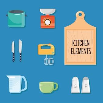 Pacchetto di otto utensili da cucina impostare icone illustrazione design