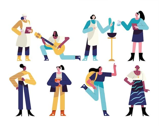 Pacchetto di otto donne diverse professioni caratteri illustrazione