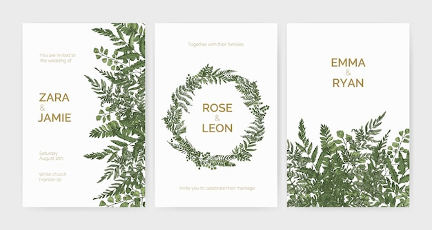 Pacchetto di modelli di invito a nozze eleganti ed eleganti decorati con felci verdi ed erbe selvatiche su sfondo bianco.