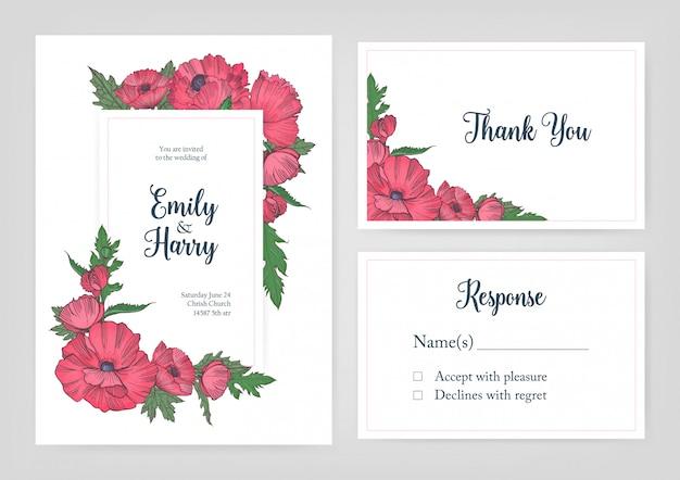 Pacco di modelli eleganti per invito a nozze, scheda di risposta e grazie nota con fiori di papavero in fiore rosa disegnati a mano su fondo bianco e posto per testo. illustrazione floreale.