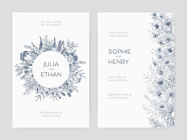 Pacchetto di eleganti modelli di invito per feste di matrimonio decorati con bellissimi fiori e corona rotonda disegnata a mano con contorni blu su sfondo bianco. illustrazione vettoriale botanica monocromatica