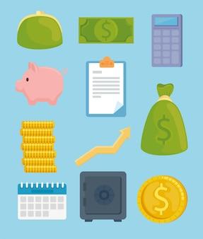Pacchetto di undici illustrazione delle icone di economia dei soldi di risparmio