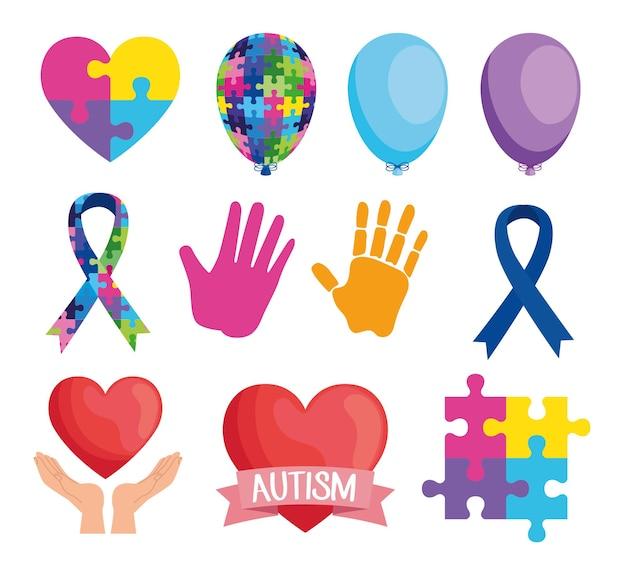 Pacchetto di undici giornata mondiale dell'autismo imposta icone illustrazione