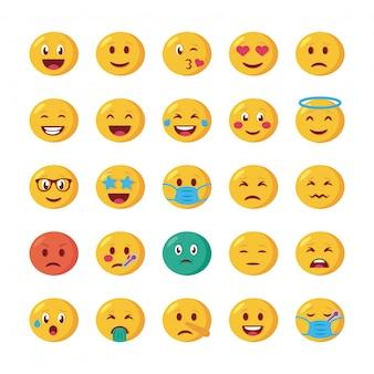 Fascio di facce emoji impostare icone
