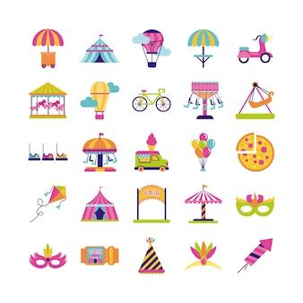 Bundle di fair entertainment impostare icone illustrazione vettoriale design