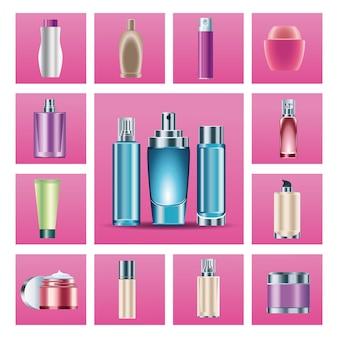 Pacchetto di quindici bottiglie per la cura della pelle icone dei prodotti illustrazione