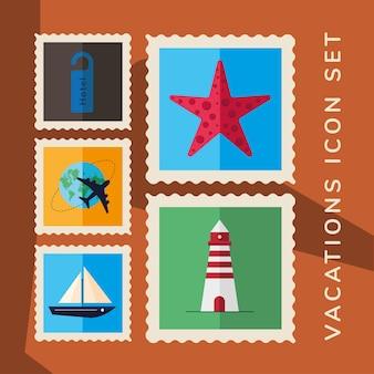 Pacchetto di cinque icone di francobolli di vacanze