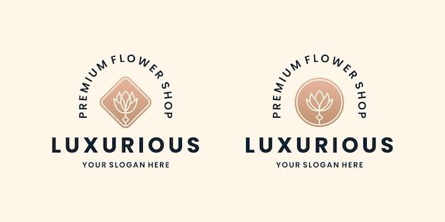 Bundle fiore logo design fiorista negozio di fiori in stile retrò
