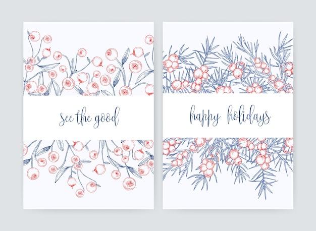Pacchetto di modelli di volantino o cartolina con mirtilli rossi di bosco e rami di ginepro con bacche disegnati a mano con linee di contorno su bianco e desiderio di vacanza