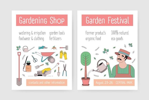 Pacchetto di modelli di volantini o poster con giardiniere nell'albero di irrigazione del cappello, attrezzi da giardinaggio e attrezzature agricole. illustrazione vettoriale moderna in stile lineare per pubblicità di mercato o festival.