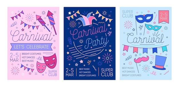 Pacchetto di modelli di volantini per ballo in maschera, carnevale o festa in costume con fuochi d'artificio e maschere disegnate con linee