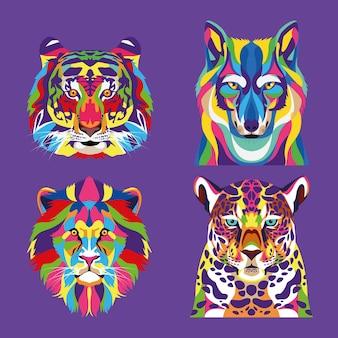 Fascio di quattro animali selvatici illustrazione a colori pieni