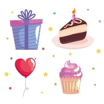 Pacchetto di quattro icone di celebrazione di compleanno impostate