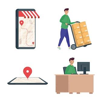 Pacchetto di quattro progettazione dell'illustrazione delle icone di servizio di consegna