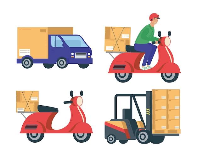 Pacchetto di quattro servizi di consegna impostare icone illustrazione design