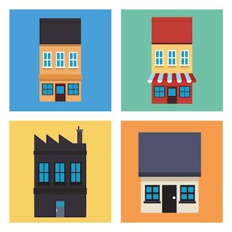 Pacchetto di quattro case facciate icone illustrazione